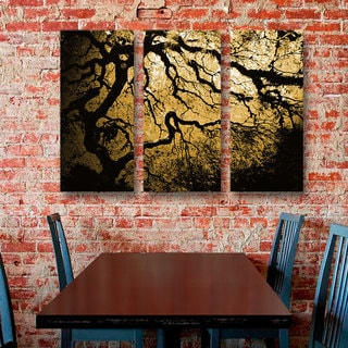 John Black 'Gold Rendition: Japanese Tree' Gallery-Wrapped Canvas, (3-Piece Set)