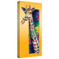 Linzi Lynn 'Giraffe Eating' Gallery-Wrapped Canvas - YELLOW