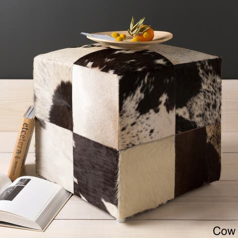 Cattle Range 18-inch Leather Cowhide Cube Pouf Ottoman