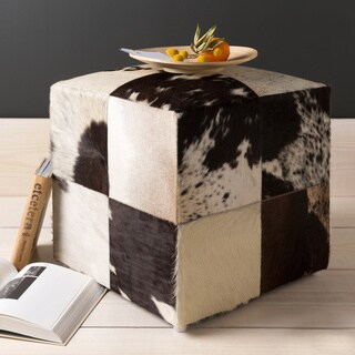 Cattle Range Leather Cowhide 18-inch Cube Pouf Ottoman
