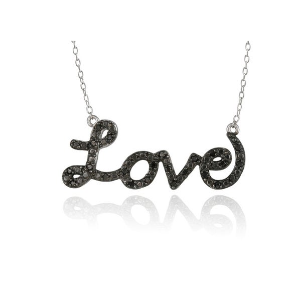 DB Designs Sterling Silver 1/4ct TDW Black Diamond 'Love' Necklace