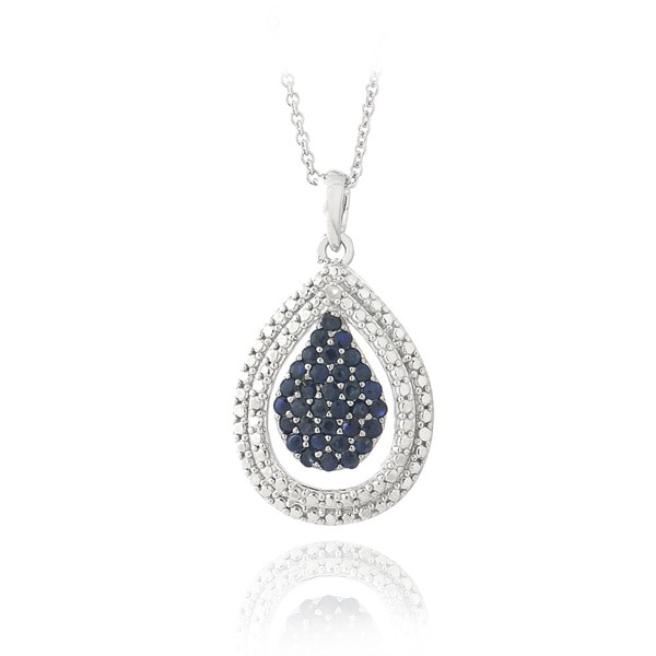Glitzy Rocks Sterling Silver 1ct TGW Sapphire Diamond Accent Teardrop Necklace