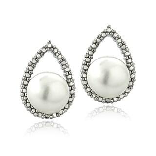Glitzy Rocks Sterling Silver Freshwater Pearl Diamond Accent Teardrop Earrings (8-9 mm)