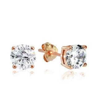 Sterling Silver Round Solitaire Zirconia Stud Earrings (Option: Gold Plated - Rose)