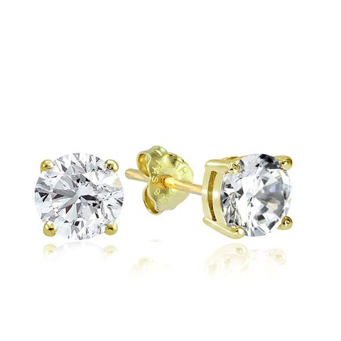 Sterling Silver Round Solitaire Zirconia Stud Earrings