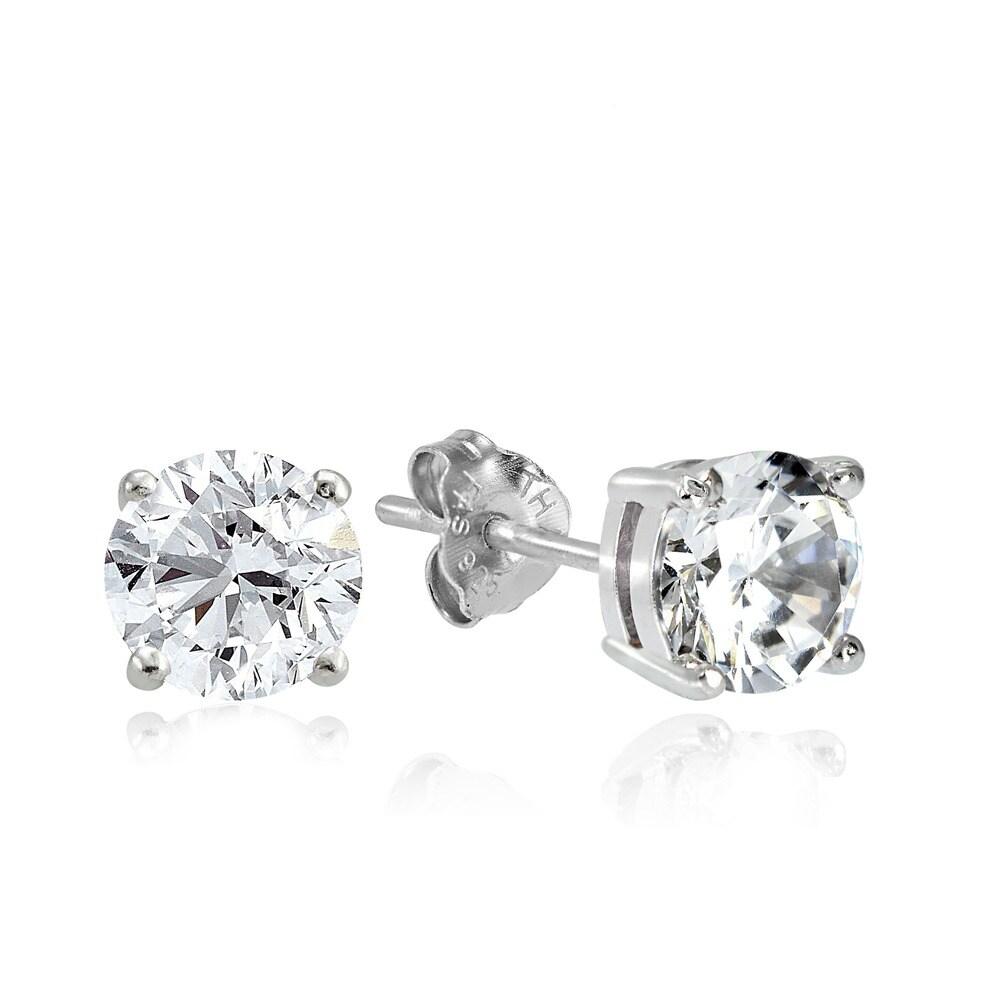 18K white gold Platinum over Sterling Silver Cubic Zirconia earrings eardrop