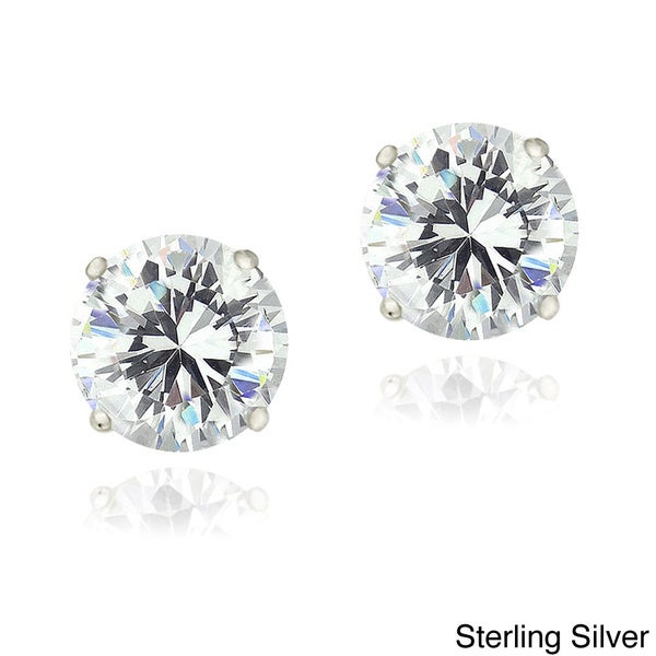 ICZ Stonez Sterling Silver Round Cubic Zirconia Solitaire Stud Earrings