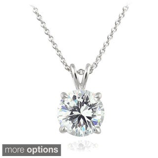 Ice Sterling Silver 2ct TGW Round Cubic Zirconia Solitaire Pendant Necklace