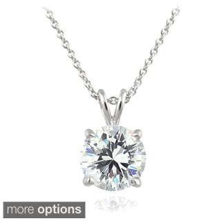 Ice Sterling Silver 2ct TGW Round Cubic Zirconia Solitaire Pendant Necklace (3 options available)