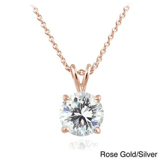 ICZ Stonez Sterling Silver 1ct TGW Round Solitaire Swarovski Zirconia Necklace (2 options available)