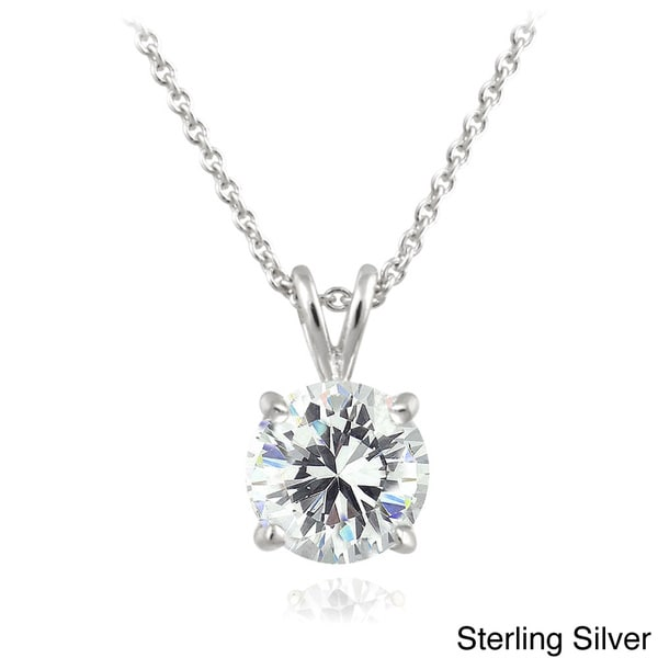 Icz stonez sterling silver 1ct tgw round solitaire swarovski icz stonez sterling silver 1ct tgw round solitaire swarovski zirconia necklace mozeypictures Image collections