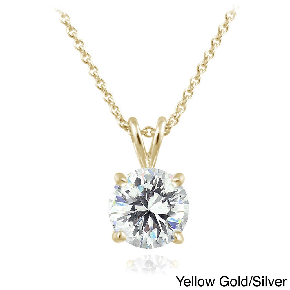 997cd53c6 Shop ICZ Stonez Sterling Silver 1ct TGW Round Solitaire Swarovski Zirconia  Necklace - On Sale - Free Shipping On Orders Over $45 - Overstock - 8970713  ...