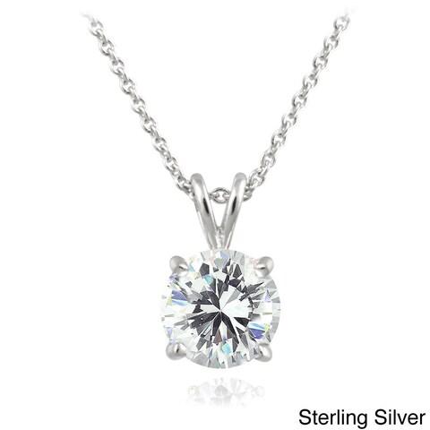 ICZ Stonez Sterling Silver 1ct TGW Round Solitaire Swarovski Zirconia Necklace