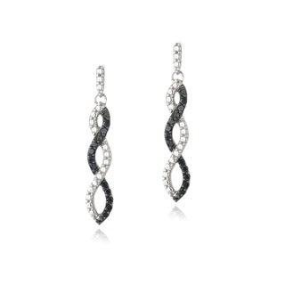 DB Designs Sterling Silver 1/4ct TDW Black or Champagne Diamond Infinity Dangle Earrings