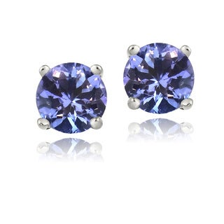 Glitzy Rocks Sterling Silver Tanzanite Round 6mm Stud Earrings