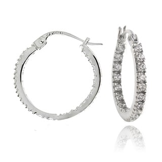 Zirconia Ice Sterling Silver 18mm Inside Out Hoop Swarovski Zirconia Earrings