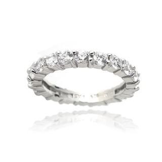 Zirconia Ice Sterling Silver Eternity Band Swarovski Zirconia Ring