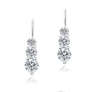 Zirconia Ice Sterling Silver Three Stone Drop Swarovski Zirconia Earrings