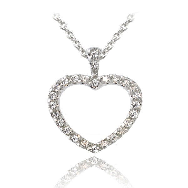 Zirconia Ice Sterling Silver Open Heart Swarovski Zirconia Necklace