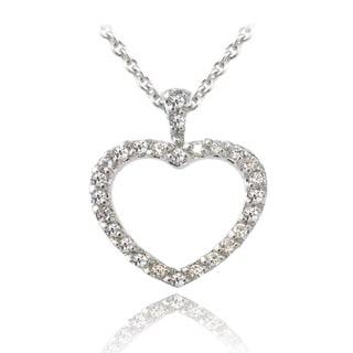 Zirconia Ice Sterling Silver Open Heart Swarovski Zirconia Necklace