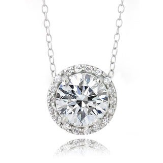 Zirconia Ice Sterling Silver Round Slide Necklace, Made with Swarovski Zirconia