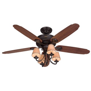 Hunter 54-inch Cortland New Bronze 5-blade Dark Cherry/ Walnut Fan