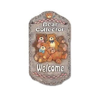 "Welcome Sign, ""Bear Collector"" Porch Decor, Resin Slate Plaque, Ready To Hang Decor"