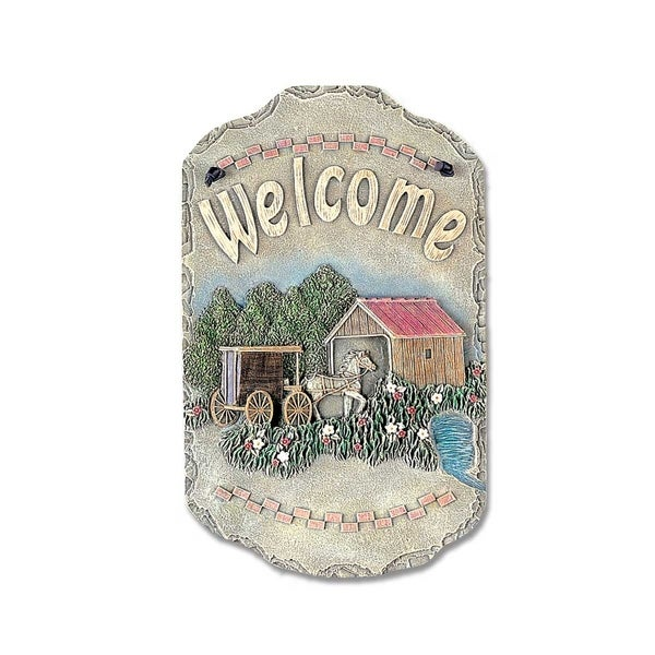 """Welcome Sign, """"Buggy"""" Porch Decor, Resin Slate Plaque, Ready To Hang Decor. Opens flyout."""