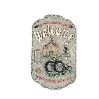 "Welcome Sign, ""Tractor"" Porch Decor, Resin Slate Plaque, Ready To Hang Decor"