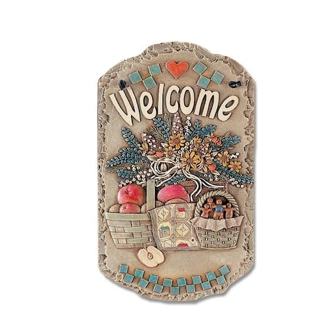 "Welcome Sign, ""Baskets"" Porch Decor, Resin Slate Plaque, Ready To Hang Decor"