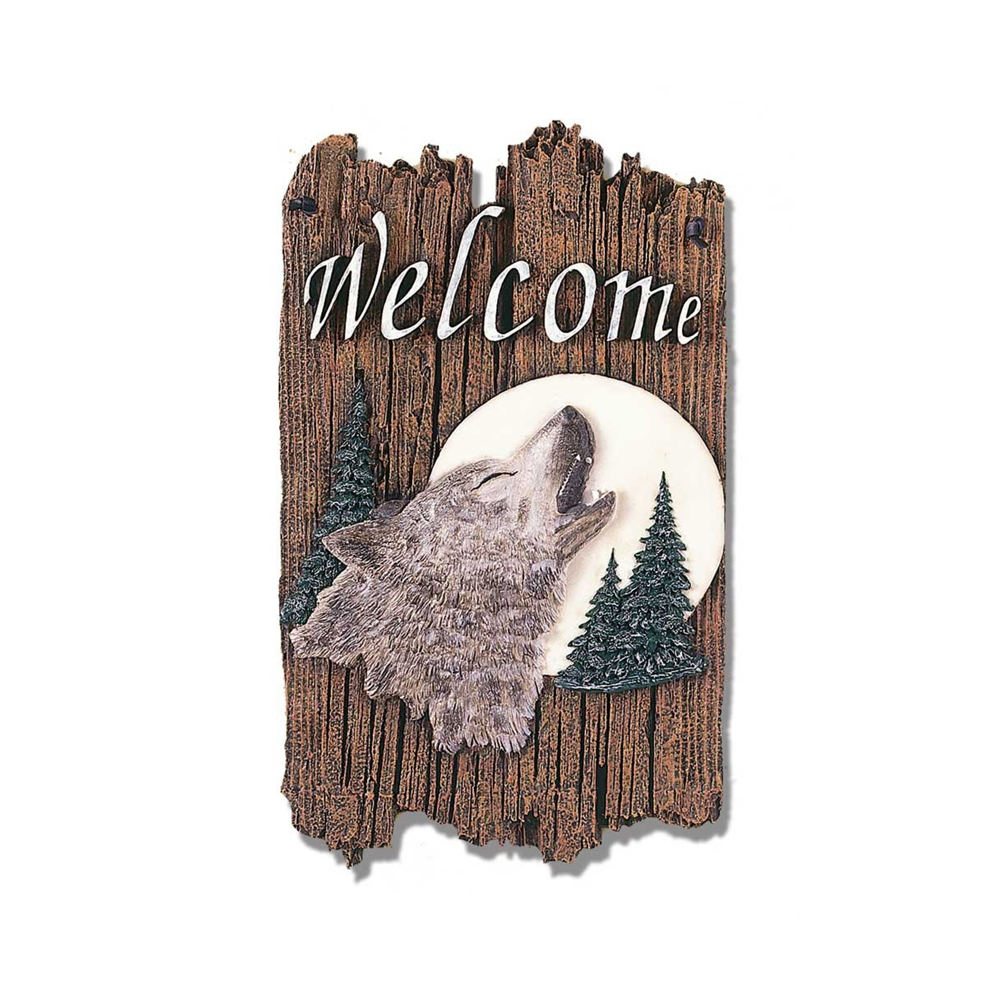 """Welcome Sign, """"Wolf"""" Porch Decor, Resin Slate Plaque, Rea..."""