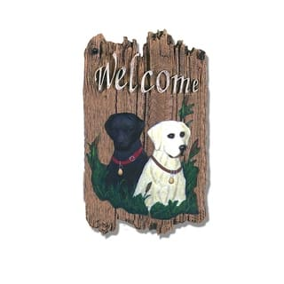 """Welcome Sign, """"Two Labradors"""" Porch Decor, Resin Slate Plaque, Ready To Hang Decor https://ak1.ostkcdn.com/images/products/8970844/P16179352.jpg?impolicy=medium"""