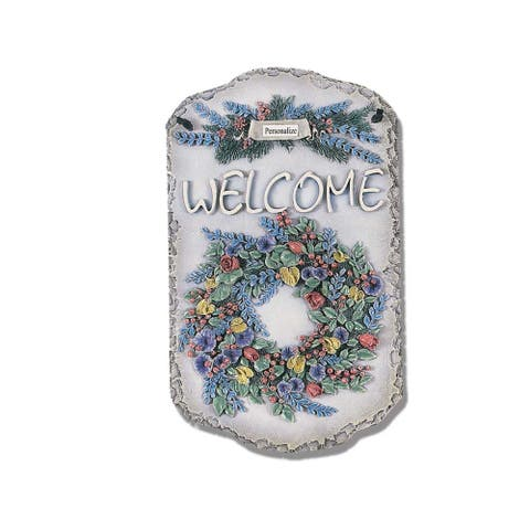"Welcome Sign, ""Wreath"" Porch Decor, Resin Slate Plaque, Ready To Hang Decor"