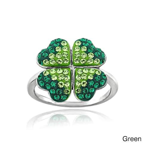 Crystal Ice Silvertone Four-leaf Clover Cubic Zirconia Crystal Ring with Swarovski Elements