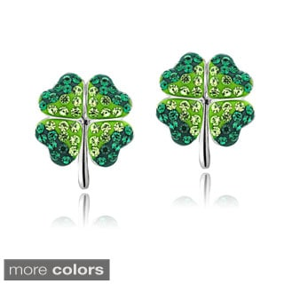 Crystal Ice Silvertone Four-leaf Clover Crystal Earrings with Swarovski Elements