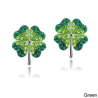Crystal Ice Silvertone Four-leaf Clover Crystal Earrings with Swarovski Elements (2 options available)