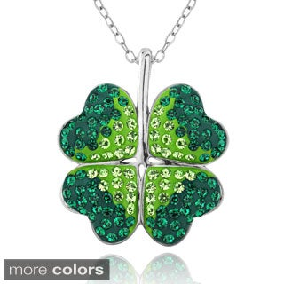 Crystal Ice Silvertone Four-leaf Clover Crystal Necklace with Swarovski Elements
