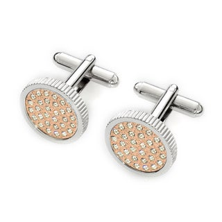 EJ Sutton Classic Men's Two-tone Clear Crystal Cufflinks (Israel)