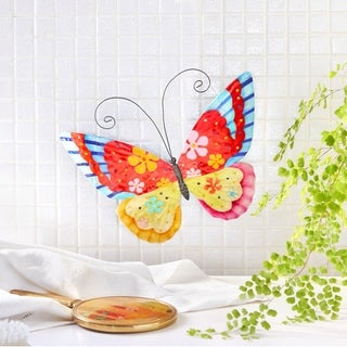 Hand-painted Multi-colored Metal and Capiz Butterfly Wall Art , Handmade in  Philippines