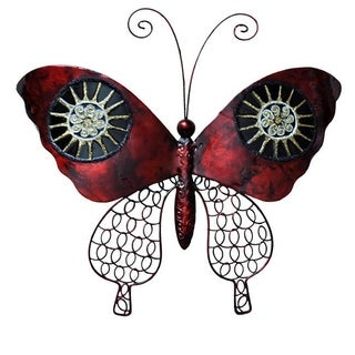 Hand-painted Red/ Black Metal and Capiz Butterfly Wall Art , Handmade in Philippines