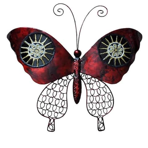 Handmade Red and Black Metal and Capiz Butterfly Wall Art