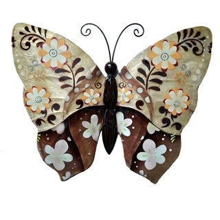 Hand-painted Brown Metal and Capiz Floral Butterfly Wall Art , Handmade in Philippines