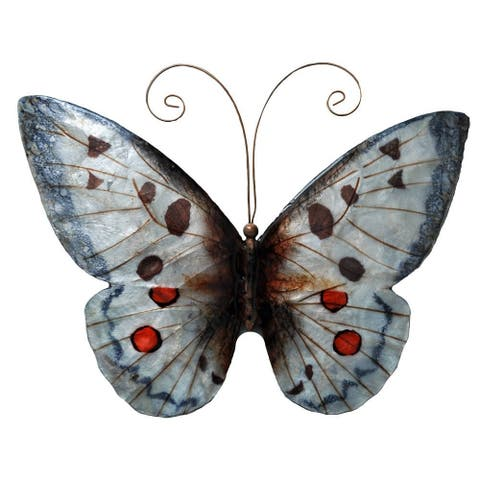 Handmade Red And White Metal and Capiz Butterfly Wall Art