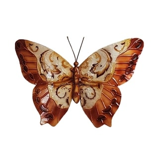 Hand-painted Copper/ Multi Metal and Capiz Butterfly Wall Art (Philippines)