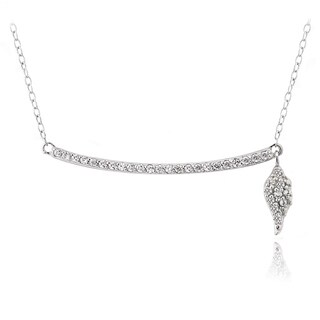 Icz Stonez Sterling Silver Cubic Zirconia Bar Dangling Angel Wing Necklace