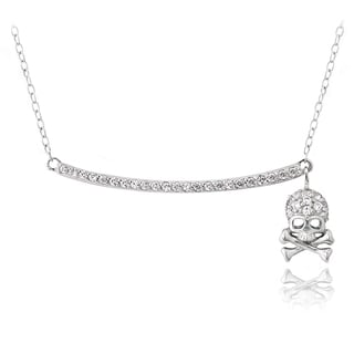 Icz Stonez Sterling Silver Cubic Zirconia Dangling Skull Necklace