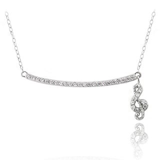 Icz Stonez Sterling Silver Cubic Zirconia Bar Music Note Necklace