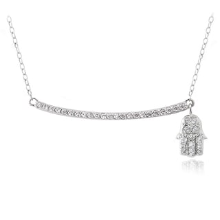 Icz Stonez Sterling Silver Cubic Zirconia Bar Dangling Hamsa Necklace