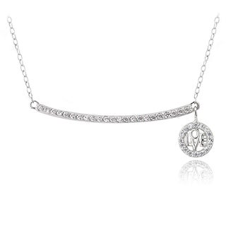 Icz Stonez Sterling Silver Cubic Zirconia Bar Dangling 'Love' Necklace