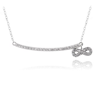 Icz Stonez Sterling Silver Cubic Zirconia Bar Dangling Infinity Necklace